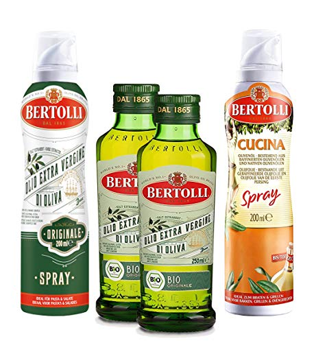Bertolli Cucina Spray, 200ml + Originale Spray, 200ml + 2x Bio Extra Originale Flasche, 2x250ml
