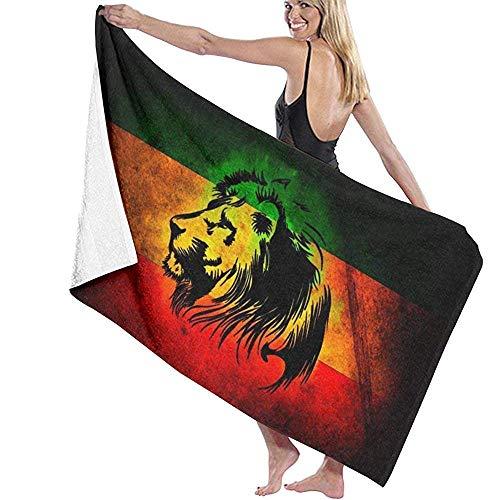 YHJUI Will African Flag Der Löwe von Juda Rasta Rastafari Jamaika Strandtuch Stuhl Dicke Weiche Schnelle Trocknen Absorbierende Handtücher Decke