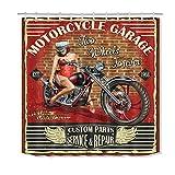 taquxinlaowan Vintage Motorcycle Sexy Beauty Girl Cortina de Ducha Set Tela Impermeable