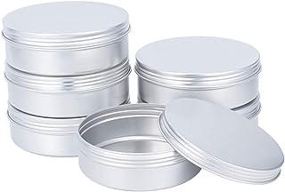 PandaHall 6pcs 300ml Grands Pots de Rangement en Métal avec Couvercle à vis Conteneurs Ronds en Métal Boîtes de Conserve d...