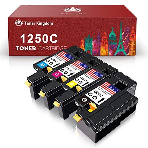 Toner Kingdom Compatible Toner Cartridge Replacement for 1250C C1760NW 810WH C5GC3 WM2JC XMX5D for Dell 1250C C1760NW C1765nfw 1350cnw Color Laser Printer (BCMY, 4 Pack)