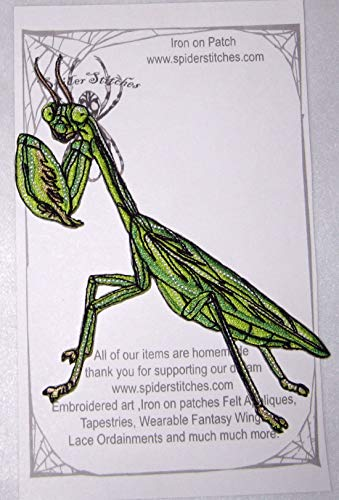 Chinese Praying Mantis Tenodera sinensis Iron on Patch Insect Patch spider stitches