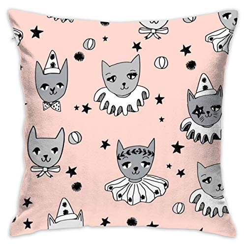 Kooky Cats Circus Cats Tejido Pierrot en blanco y negro Magic Cat Fabric_704 Cojín cubrecamas Soft Particles algodón lino Covers Covers Covers 18 x 18 pulgadas para sofá dormitorio coche