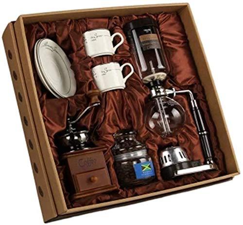 KaiKai Retro Kaffeemühle Syphon Pot manuelle Kaffeekanne Set Haushaltsglas Kaffeemaschine