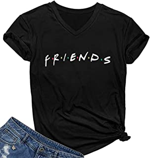 SELECTEES Women Friends V-neck T Shirts Graphic Teen Girls Cute Tops