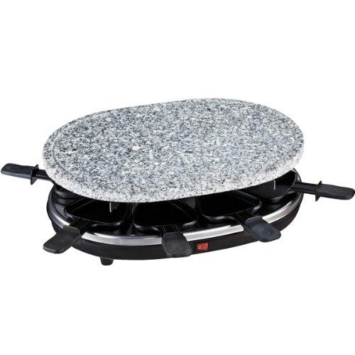 H.Koenig RP 85 Raclette 8 Personas, Plancha de Piedra Natural, 900 W, Acero Inoxidable, Negro, 8 Sartenes Antiadherentes, RP85