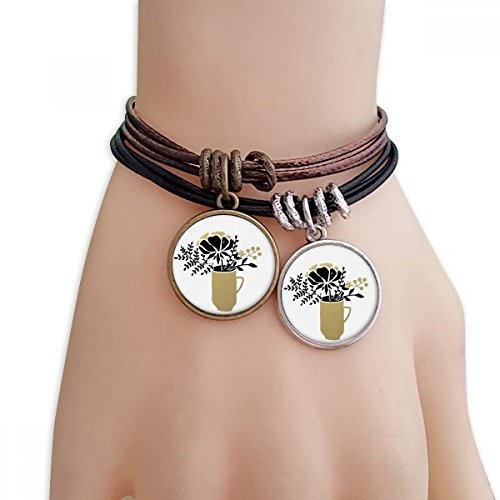 DIYthinker Womens Bloem Bladeren Vaas Goud Quote Armband Dubbele Lederen Touw Polsband Paar Set