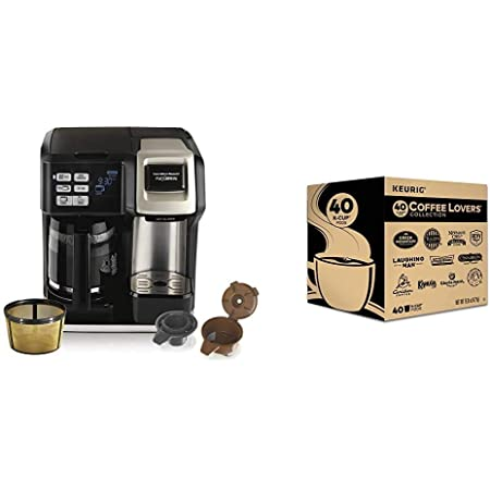 Hamilton Beach FlexBrew Coffee Maker, Single Serve & Full Pot, Compatible with K-Cup Pods or Grounds & Keurig Coffee Lovers' Collection Variety Pack, Single-Serve Coffee K-Cup Pods Sampler, 40 Count