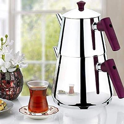 Turkish Tea Pots for Stove Top, Stainless Steel Turkish Teapot Set, Samovar Style Self-Strained Tea Kettle Pot (FAMILY)