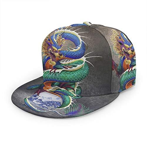 Dreamfy Chinese Dragon Noble Monster Chinoiserie Unisex Dad Hat Snapback Adjustable Baseball Cap Cotton Hip Hop Flat Brim Hats for Men Women
