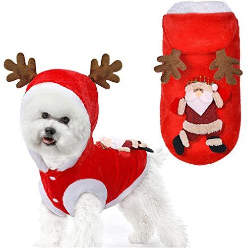DSDecor Santa Dog Costume Christmas Pet Dog Clothes Winter Warm Dress Up Clothing for Small Dog (Santa, S)