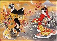 パズルジグソー大人と子供 ジグソーパズル1000ピース紙ハルヨモリタ製作所日本の着物女性のパズルDIYユニークなギフト現代の家の壁のアートの写真の装飾 家庭用ゲーム