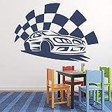 Calcomanía de pared de carreras bandera a cuadros estilo fresco arte Mural dormitorio adolescente hombre cueva garaje decoración del hogar vinilo pegatina para ventana