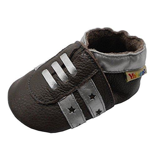 YALION Weicher Leder Baby Turnschuhe Lauflernschuhe Krabbelschuhe Babyhausschuhe Hellbraun 18/19=S
