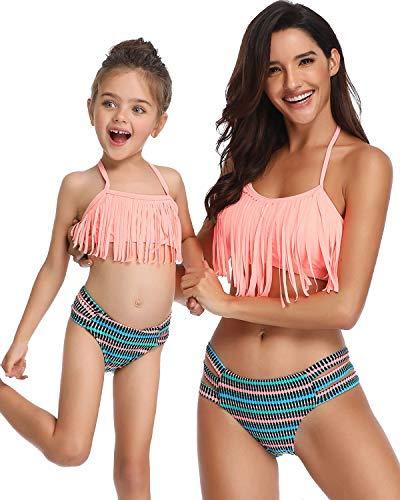 Sixyotie Costume da Bagno per Bambini e Capispalla Bikini con Spalle Scoperte per Le Donne Bambina...