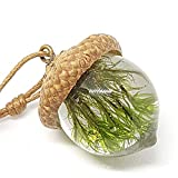 English Acorn Pendant Necklace for Women and Men. Handmade Natural Gift of Moss Jewelry for Motherhood, Maternity, or as Spiritual Unique Gifts Set in Eco Resin