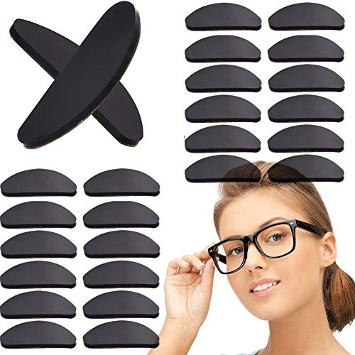 Eyeglasses Nose Pads Anti-Slip Soft Silicone Adhesive Nosepads for Glasses Sunglasses Reading Glasses 20 Pairs Black