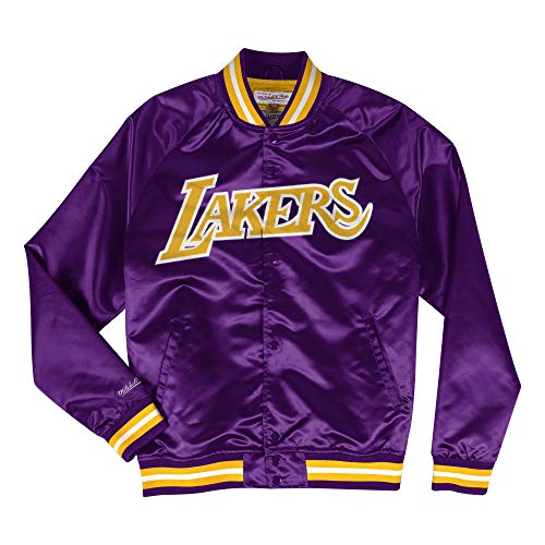 Mitchell & Ness Los Angeles Lakers NBA Leichte Satin-Jacke, Herren, violett, Large