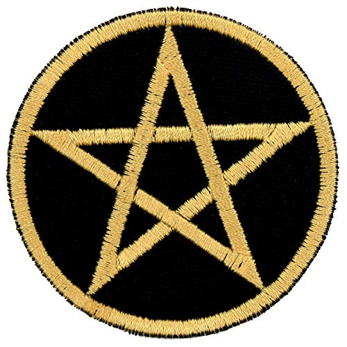 Star in Circle Pentacle Patch Iron On Applique - Black, Nonmetallic Champagne Gold - 2.5' Diameter - Made in The USA