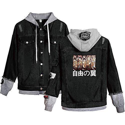 Attack On Titan Chaqueta Vaquera con Capucha Anime Shingeki No Kyojin Survey Corps Wings of Freedom Sudaderas con Botones para Adultos Cosplay Jeans Coat