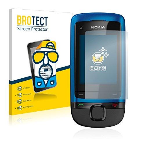 BROTECT Protector Pantalla Anti-Reflejos Compatible con Nokia C2-05 (2 Unidades) Pelicula Mate Anti-Huellas