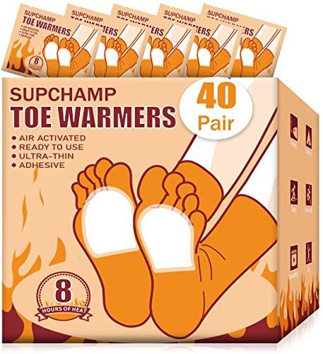 Supchamp Fußwärmer, 40 Paar Einweg-Zehenwärmer Selbstklebend, Luftaktivierte Wärmekissen für Winteraktivitäten im Freien, Sichere Wärme für 8 Stunden