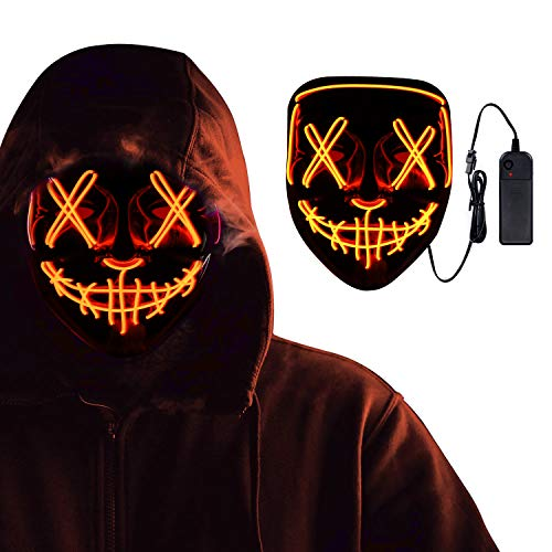 Halloween Scary Mask For Men Women Kids, LED Light up Face Mask Cosplay For Halloween Festival Party (Orange)
