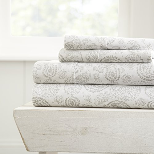 ienjoy Home 4 Piece Sheet Set Patterned, Queen, Coarse Paisley Gray