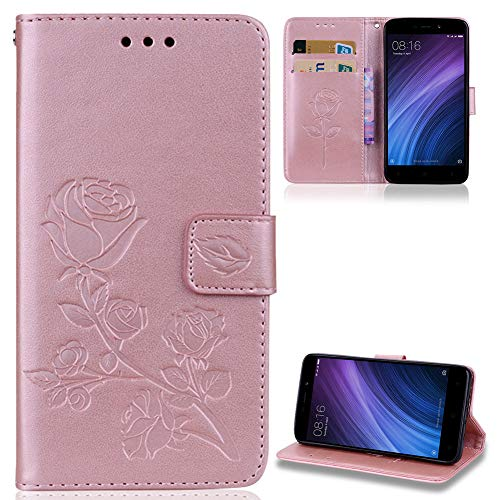 ZCXG Kompatibel für Handyhülle Xiaomi Redmi 4A Hülle Leder Blume Mädchen Brieftasche Silikon Innere Tasche mit Kartenfach Dünn Anti Slip Cover Magnet Weiche Stand Flip