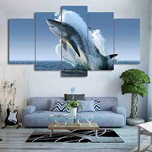 HD Impreso 5 Piezas Lienzo Arte Saltando Tiburón Blanco Pintura Cuadros De Pared para Sala De Estar Moderna(Sin Marco)