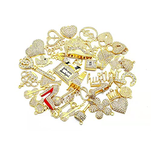 Bling Rhinestone Charms EllyBling Fashion Alloy Charm Set for Jewelry Making Accessories DIY, 35 PCS (gold plated clear rhinestone)