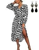 BUOYDM Mujer Elegantes Vestido de Fiesta Cuello V Leopardo Estampado Vestido Casual Manga Larga Irregular de Noche Cóctel Playa Blanco M