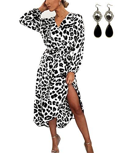 BUOYDM Mujer Elegantes Vestido de Fiesta Cuello V Leopardo Estampado Vestido Casual Manga Larga Irregular de Noche Cóctel Playa