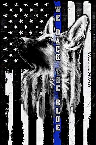 Makinit Gifts German Shepherd K-9 We Back The Blue Thin Blue Line Sublimated Double Sided Deluxe Garden Flag 12' x 18' 3ply 600 Denier 110 Knitted Polyester