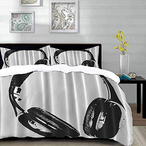 Yaoni bedding - Duvet Cover Set, Music Headphones Earphones Artistic,Modern Musician Gifts for Men Women Contemporary Disco Dj S,Microfibre Duvet Cover Set 200 x 200cm with 2 Pillowcase 50 X 80cm