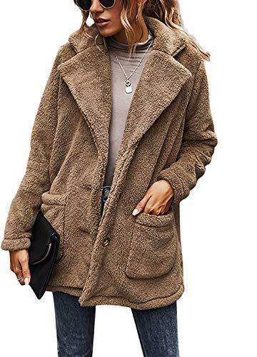 BUOYDM Cappotto Giacca Donna Giacca in Peluche Invernale Parka Elegante Outerwear Caldo Lapel Giacche Cappotti Cachi M