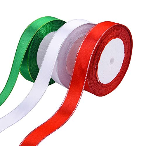 Livder 3 Rolls Christmas Wrapping Satin Ribbon, Red White Green, 4/5 Inch Wide, 75 Yards