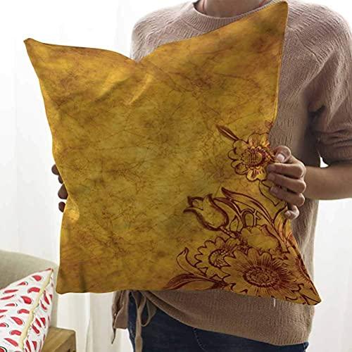 N\A Antike quadratische Kissenbezug Tulpe und Gänseblümchen Blumen Kunst Kissenbezug für Couch/Sofa/Schlafzimmer