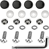 LFParts Stainless Steel Rust Resistant License Plate Frame Security Anti-Theft Machine Type Screws Fasteners (M6x20mm, Black Caps)