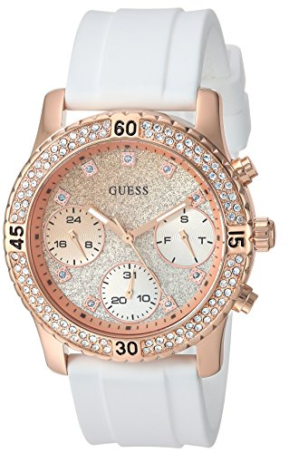 Guess Women's Stainless Steel Silicone Crystal Glitter Watch, Color White/Rose Gold-Tone (Model: U1098L5)