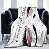 LodiSFOA Pink Rose White Makeup Lashes Hello Gorgeous Fleece Blanket Throw Lightweight Blanket Super Soft Cozy Bed Warm Blanket for Living Room/Bedroom All Season