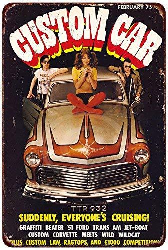qidushop Metall-Blechschilder mit Auto-Magazin 1975, Vintage-Autos, Reproduktion, 30 x 45 cm