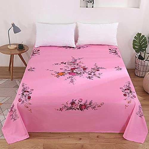 AZSOGOOD Exquisite cotton sheets, single-piece brushed small floral sheets, nostalgic style double household single bed supplies-Pink_200*220cm*1