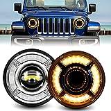 7 inch Round LED Headlights, AAIWA Wrangler LED Headlight with Amber Turn Signal Light White DRL Compatible with Jeep Wrangler JK TJ LJ CJ JKU Unlimited Rubicon Sahara