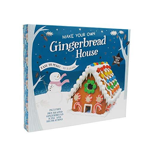 Kit grande para hacer tu propia casa de pan de jengibre de Navidad, fácil de hacer, sin hornear, incluye pan de jengibre preformado, glaseado y decoraciones. Diversión navideña para toda la familia.