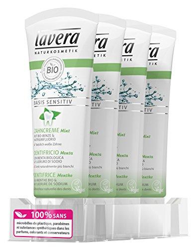 Lavera Zahnpasta mit Minze–Vegan–100% natürlichen Kosmetika–Dentalhygiene 4Frischhaltedosen Zertifikate von 75ml