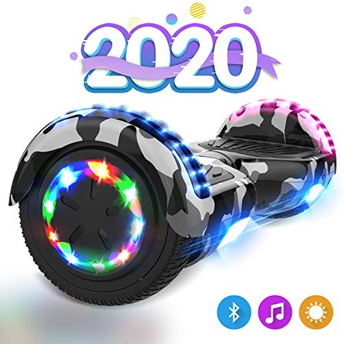 GeekMe Hoverboards für Kinder 6,5 Zoll, Elektroroller, Elektro Scooter Board mit Bluetooth Lautsprecher, LED Leuchten, Geschenk für Kinder, Jugendliche und Erwachsene