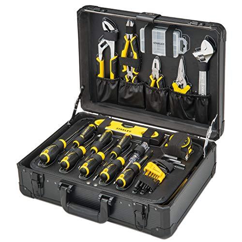 STANLEY Valise de Maintenance STMT98109-1 - 142 Pièces - Pinces et coupe-touts, clé à molette, niveau, mesure, tournevis, scie à métaux, cutter, marteau, outils pour serrage-vissage