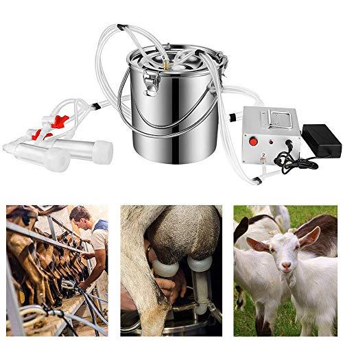 LIMEID Ordeñadora de Vacas Portátil 14L Máquina Ordeñadora de Cabra Ordeñadora de Ovejas para Ovejas/Cabras/Vacas con Bomba de Pulso Al Vacío Acero Inoxidable Fácil de Limpiar(110-240V),forgoats