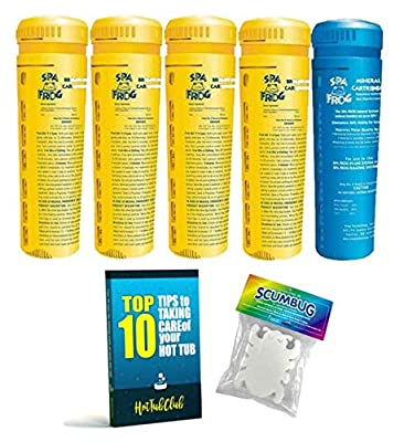 HotTubClub King Technology SPA Frog Serene Replacement Cartridge Kit, Hot Tub Accessories - Bundle with Floating ScumBug Oil Absorber & Hot Tub Care eBook (7 items)